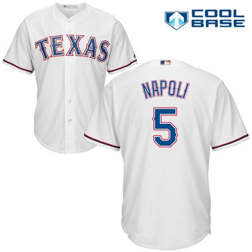 Men's Texas Rangers #5 Mike Napoli White Home Stitched MLB Majestic Cool Base Jersey