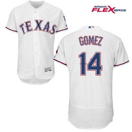 Men's Texas Rangers #14 Carlos Gomez White Home Stitched MLB Majestic Flex Base Jersey