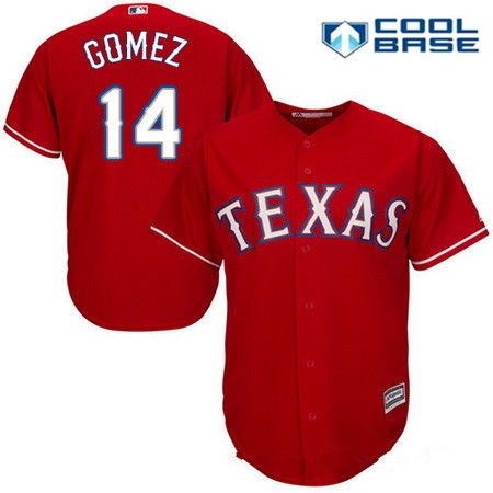 Men's Texas Rangers #14 Carlos Gomez Red Alternate Stitched MLB Majestic Cool Base Jersey