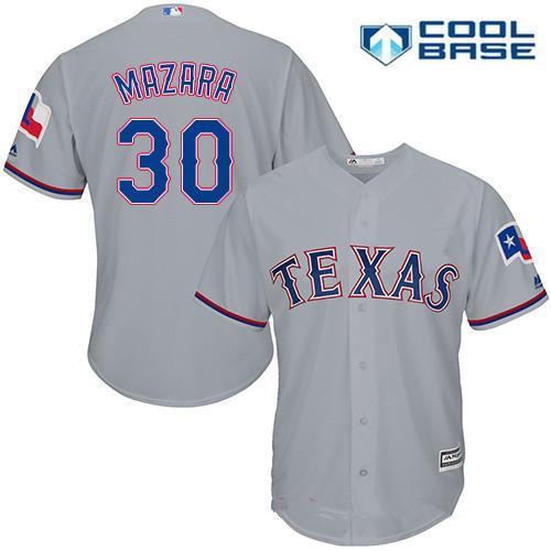 Men's Texas Rangers #30 Nomar Mazara Gray Road Stitched MLB Majestic Cool Base Jersey
