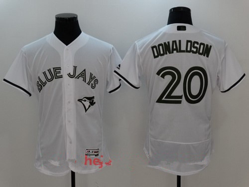 Men's Toronto Blue Jays #20 Josh Donaldson White with Green Memorial Day Stitched MLB Majestic Flex Base Jersey