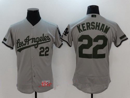 Men's Los Angeles Dodgers #22 Clayton Kershaw Gray with Green Memorial Day Stitched MLB Majestic Flex Base Jersey