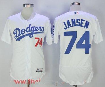 Men's Los Angeles Dodgers #74 Kenley Jansen White Home Stitched MLB Majestic Flex Base Jersey