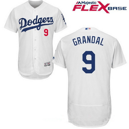 Men's Los Angeles Dodgers #9 Yasmani Grandal White Home Stitched MLB Majestic Flex Base Jersey