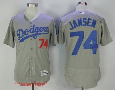 Men's Los Angeles Dodgers #74 Kenley Jansen Gray Stitched MLB Majestic Flex Base Jersey