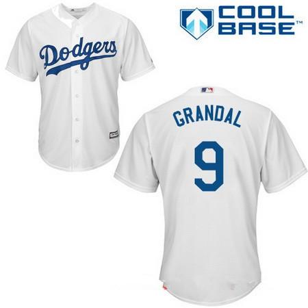 Men's Los Angeles Dodgers #9 Yasmani Grandal White Home Stitched MLB Majestic Cool Base Jersey