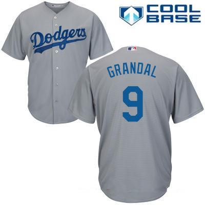 Men's Los Angeles Dodgers #9 Yasmani Grandal Gray Alternate Stitched MLB Majestic Cool Base Jersey