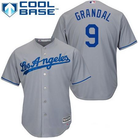 Men's Los Angeles Dodgers #9 Yasmani Grandal Gray Road Stitched MLB Majestic Cool Base Jersey