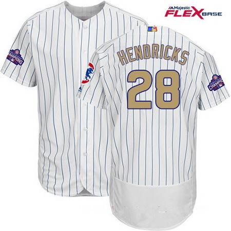 Men's Majestic Chicago Cubs #28 Kyle Hendricks White 2017 Gold Program Flexbase Authentic Collection MLB Jersey