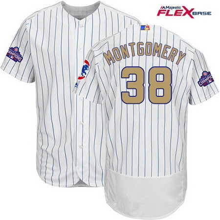 Men's Majestic Chicago Cubs #38 Mike Montgomery White 2017 Gold Program Flexbase Authentic Collection MLB Jersey