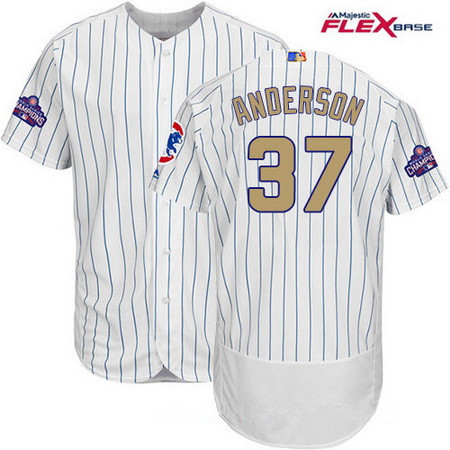 Men's Majestic Chicago Cubs #37 Brett Anderson White 2017 Gold Program Flexbase Authentic Collection MLB Jersey