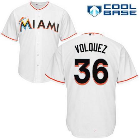 0a72abeb644 Men s Miami Marlins  36 Edinson Volquez White Home Stitched MLB Majestic  Cool Base Jersey