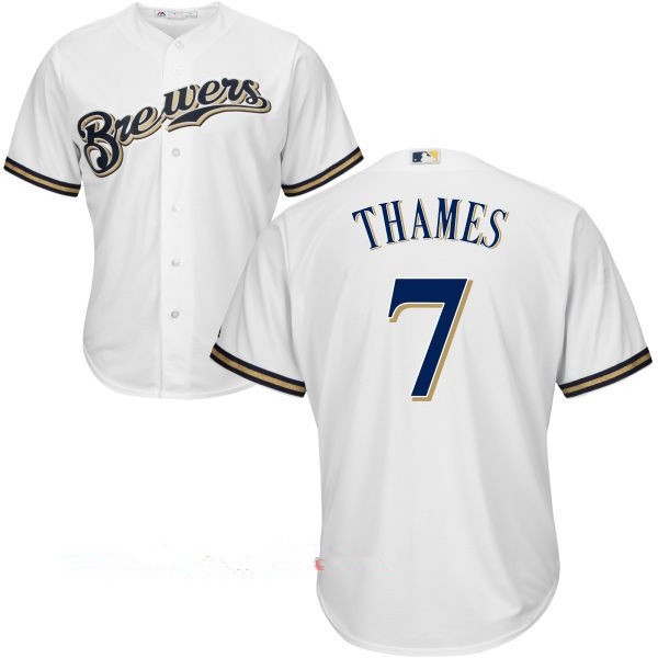 Men's Milwaukee Brewers #7 Eric Thames All White Stitched MLB Majestic Cool Base Jersey