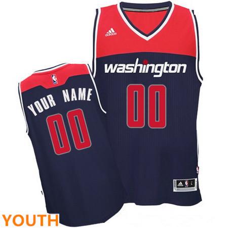 Youth Washington Wizards Navy Blue Custom adidas Swingman Alternate Basketball Jersey