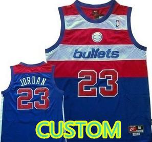 Custom Washington Bullets  Blue Swingman Throwback Jersey