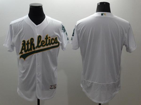 Men's Oakland Athletics Blank White Flex Base 2016 MLB Player Baseball Jersey
