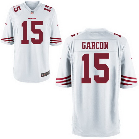 ID94112 Men\'s San Francisco 49ers #15 Pierre Garcon White Road Stitched NFL Nike Game Jersey