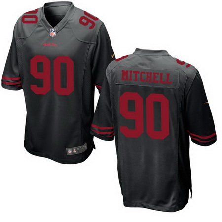 ID94103 Men\'s San Francisco 49ers #90 Earl Mitchell Black Alternate Stitched NFL Nike Game Jersey
