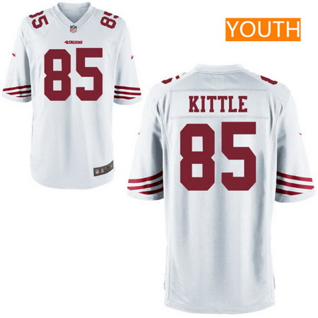 Youth 2017 NFL Draft San Francisco 49ers #85 George Kittle White Road Stitched NFL Nike Game Jersey