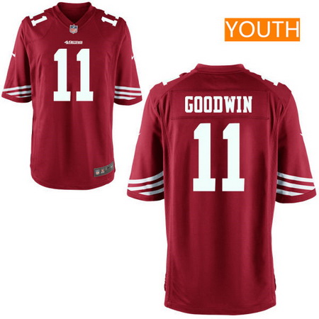 Youth San Francisco 49ers #11 Marquise Goodwin Scarlet Red Team Color Stitched NFL Nike Game Jersey