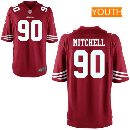 Youth San Francisco 49ers #90 Earl Mitchell Scarlet Red Team Color Stitched NFL Nike Game Jersey
