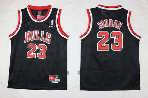Youth Chicago Bulls #23 Michael Jordan Black With Bulls Jersey