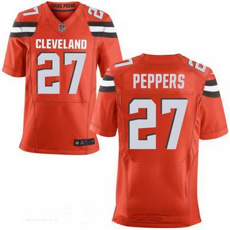 2dbf114ad ... Mens 2017 NFL Draft Cleveland Browns 27 Jabrill Peppers Orange  Alternate Stitched NFL Nike Elite Jersey ...