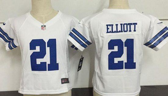 Toddler Dallas Cowboys #21 Ezekiel Elliott White Road Stitched NFL Nike Game Jersey