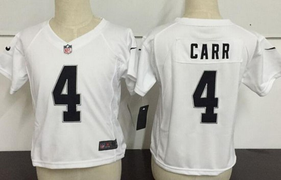 Toddler Oakland Raiders #4 Derek Carr White Road Stitched NFL Nike Game Jersey
