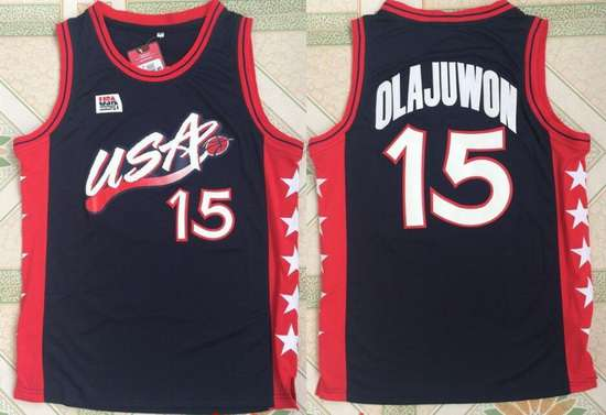 1996 Olympics Team USA Men's #15 Hakeem Olajuwon Navy Blue Stitched Basketball Swingman Jersey