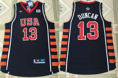 2004 Olympics Team USA Men's #13 Tim Duncan Navy Blue Stitched Basketball Reebok Swingman Jersey