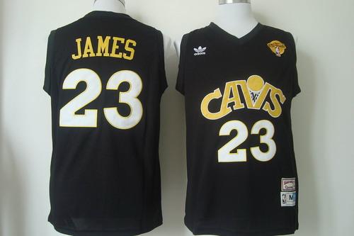 Men's Cleveland Cavaliers #23 LeBron James 2017 The NBA Finals Patch CavFanatic Black Hardwood Classics Soul Swingman Throwback Jersey