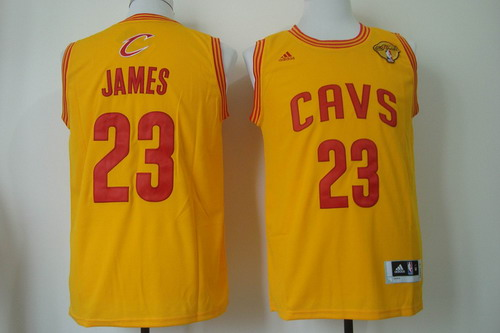 7983f7a19 ... Mens Cleveland Cavaliers 23 LeBron James 2017 The NBA Finals Patch  Yellow Swingman Jersey ...