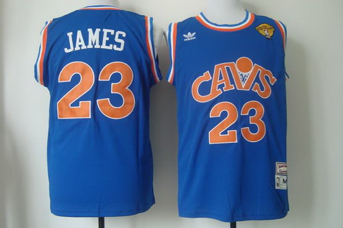 Men's Cleveland Cavaliers #23 LeBron James 2017 The NBA Finals Patch CavFanatic Blue Hardwood Classics Soul Swingman Throwback Jersey
