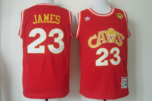 Men's Cleveland Cavaliers #23 LeBron James 2017 The NBA Finals Patch CavFanatic Red Hardwood Classics Soul Swingman Throwback Jersey