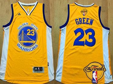 ... New Black Short-Sleeved Mens Golden State Warriors 23 Draymond Green  Yellow 2017 The NBA Finals Patch Jersey ... 72ad474c0