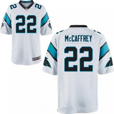 ID94381 Men\'s 2017 NFL Draft Carolina Panthers #22 Christian McCaffrey White Road Stitched NFL Nike Elite Jersey