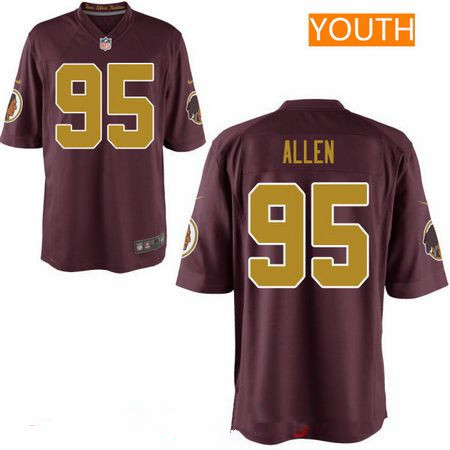 ID94317 Youth 2017 NFL Draft Washington Redskins #95 Jonathan Allen Red with Gold Alternate Stitched NFL Nike Game Jersey