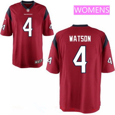 ID94168 Women\'s 2017 NFL Draft Houston Texans #4 Deshaun Watson Red Team Color Stitched NFL Nike Game Jersey