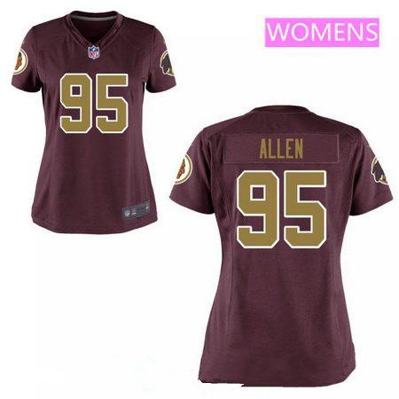 Women s 2017 NFL Draft Washington Redskins  95 Jonathan Allen Red with Gold  Alternate Stitched NFL 22e847fe6
