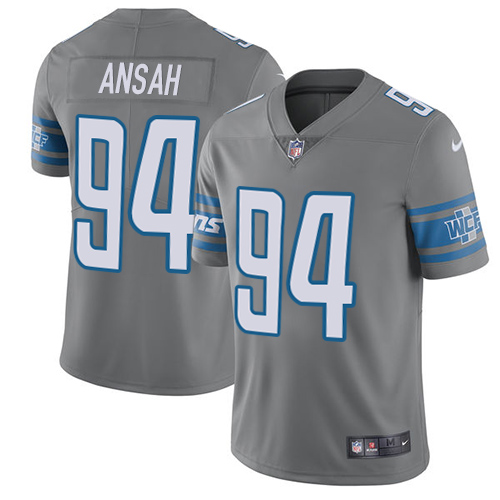 ID94144 Nike Lions #94 Ziggy Ansah Gray Men\'s Stitched NFL Limited Rush Jersey