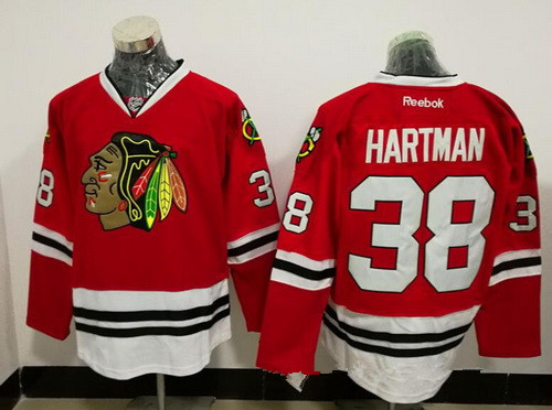Men s Chicago Blackhawks  38 Ryan Hartman Red Stitched NHL Reebok Hockey  Jersey 99dec91a8