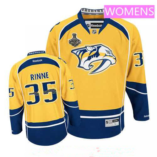 Women s Nashville Predators  35 Pekka Rinne Yellow 2017 Stanley Cup Finals  Patch Stitched NHL Reebok 2a07b8ad6