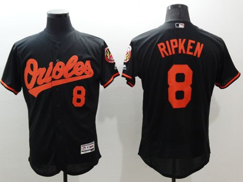 ec6319263 Men s Baltimore Orioles  8 Cal Ripken Black Flexbase Authentic Collection  Stitched MLB Jersey