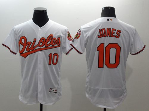 Men's Baltimore Orioles #10 Adam Jones White Flexbase Authentic Collection Stitched MLB Jersey