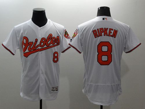 Men's Baltimore Orioles #8 Cal Ripken White Flexbase Authentic Collection Stitched MLB Jersey