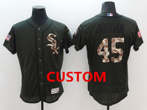 Custom Chicago White Sox Retired Green Salute to Service 2016 Flexbase Majestic Baseball Jersey