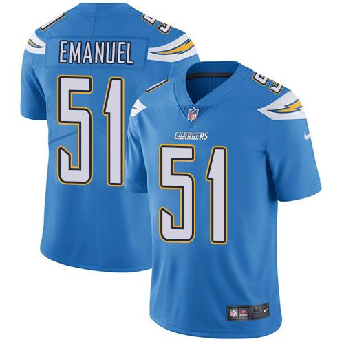 ID92652 Nike San Diego Chargers #51 Kyle Emanuel Electric Blue Alternate Men\'s Stitched NFL Vapor Untouchable Limited Jersey