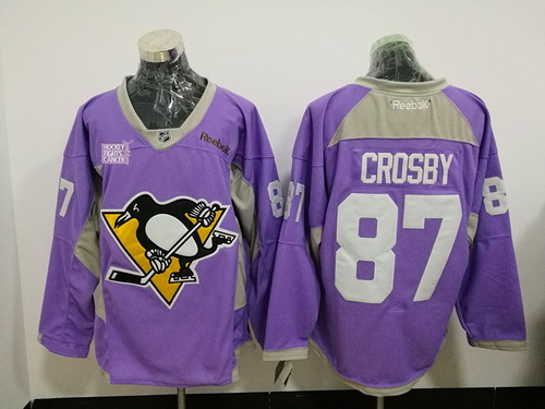 cff40dd4d Men s Pittsburgh Penguins  87 Sidney Crosby Purple Pink Hockey Fights  Cancer Practice Stitched NHL Reebok