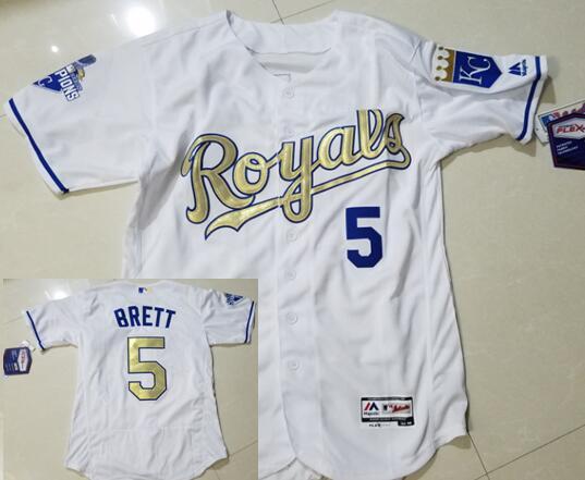 Men's Kansas City Royals #5 George Brett Retired White World Series Champions Gold Program Flex Base Jersey